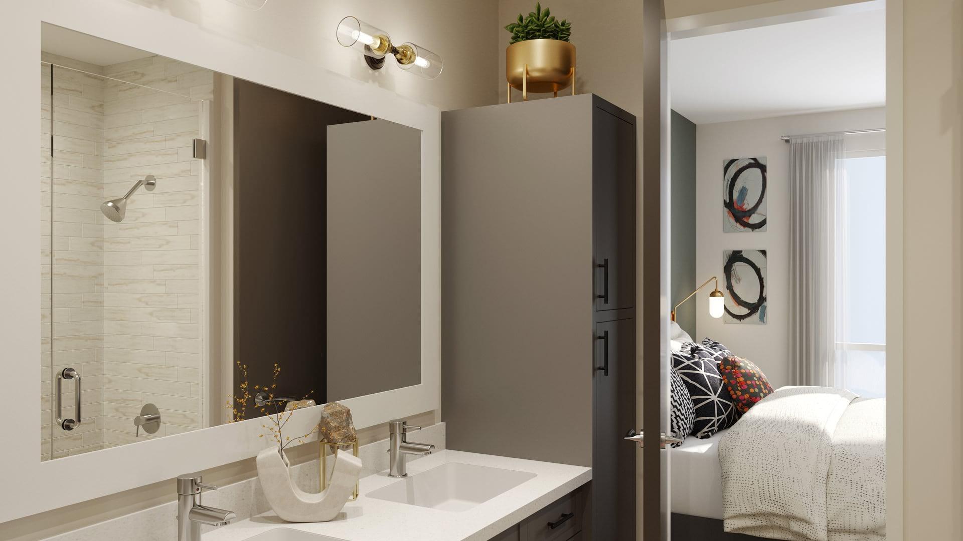 Double vanity bathroom with modern lighting