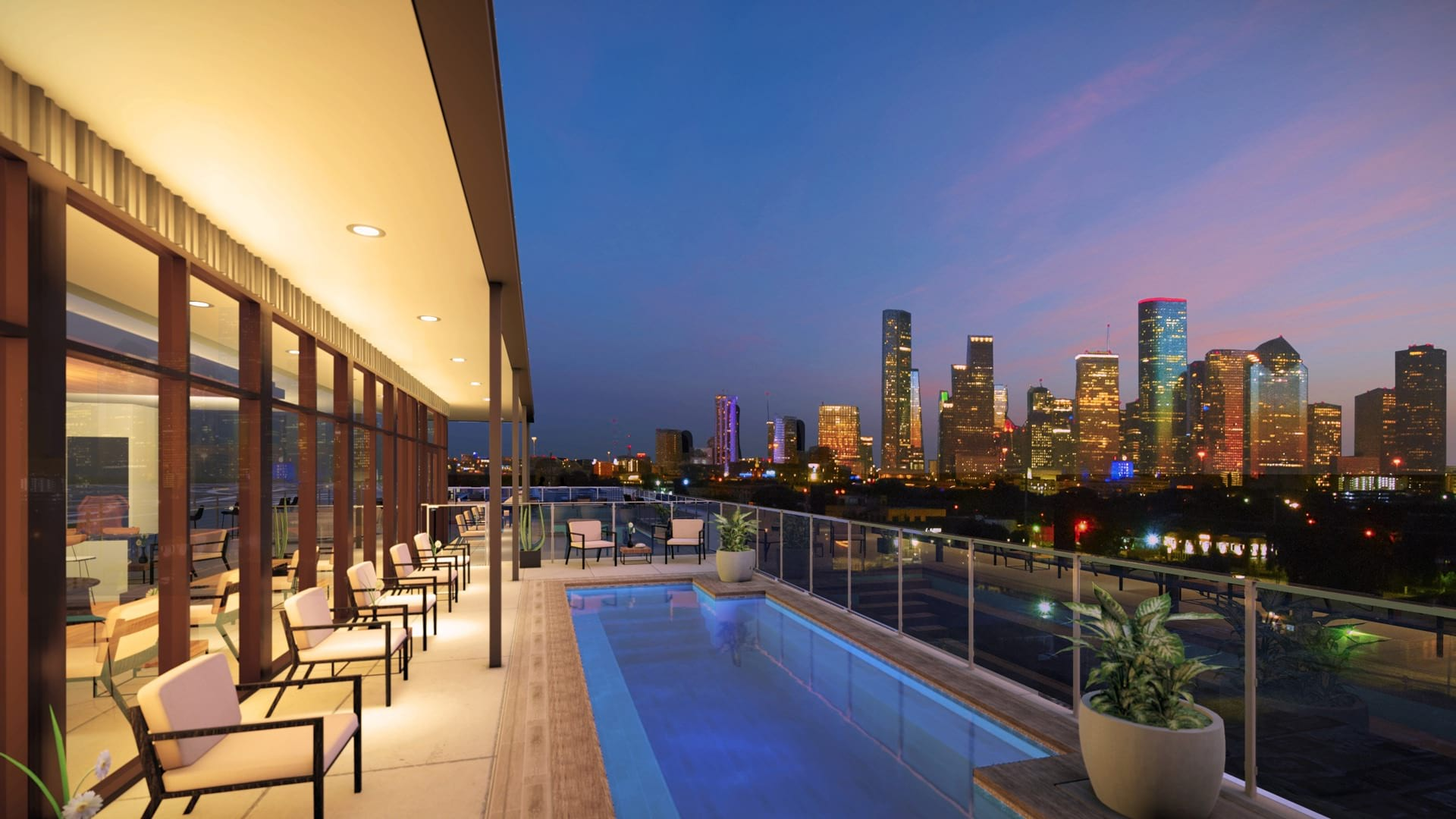 Sky deck pool with expansive view of Houston