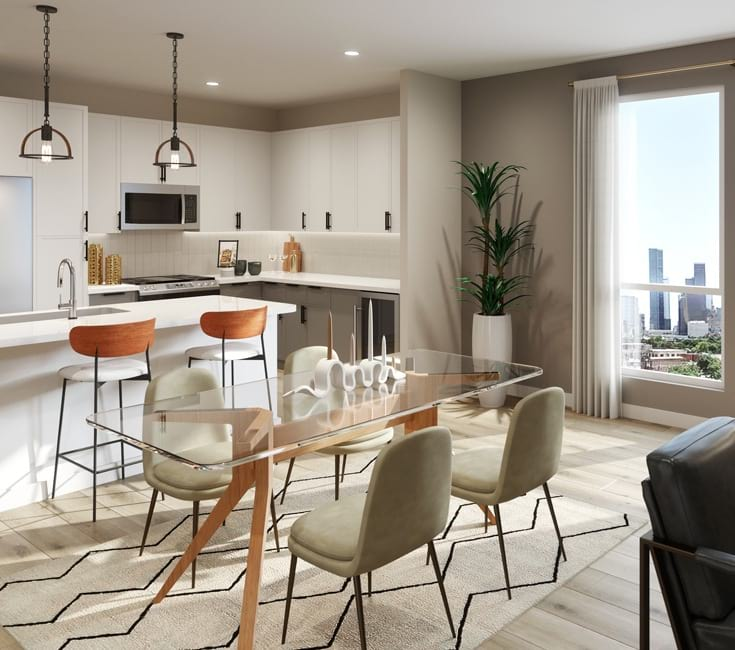 Open Concept Kitchen and Living Area With Natural Lighting