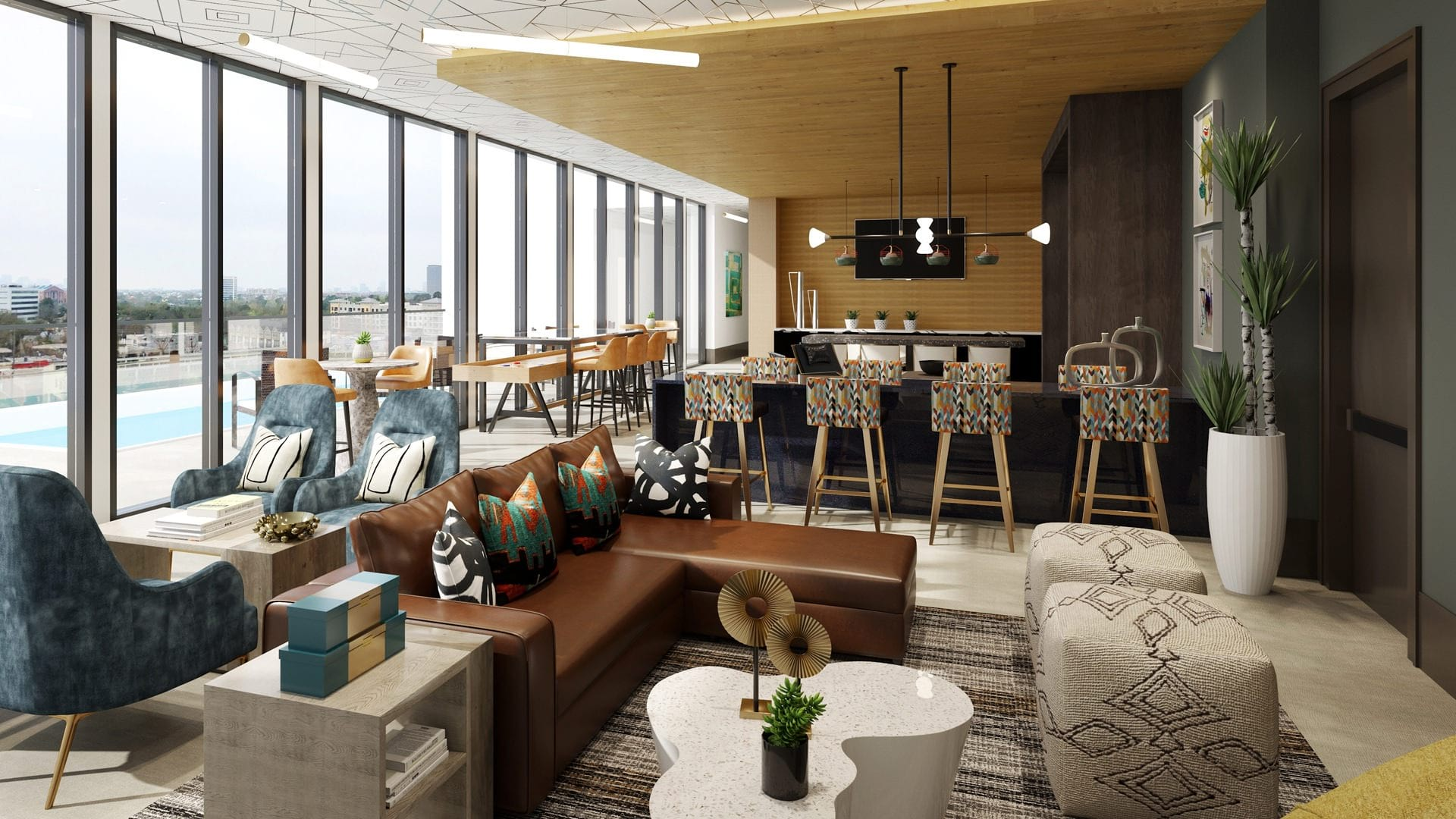 Sky Lounge with unobstructed view of the city
